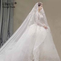 Real Photos 3 Meters Long Wedding Veil with Comb One Layer Luxury Bling Glued Sequined Cathedral Bridal Veil Accessories