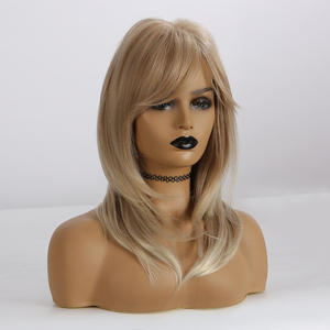 Image 2 - ALAN EATON Synthetic Wigs Medium Wavy Hair for Women Heat Resistant Wig with Bangs Ombre Brown Golden Blonde Ash Layered Wigs