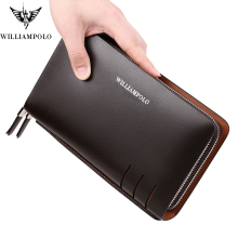 Business Men Clutch Bags Brand Genuine Leather Black Blue Fashion Zipper Long Wallet Phone Credit Card Holders Handbag pl179