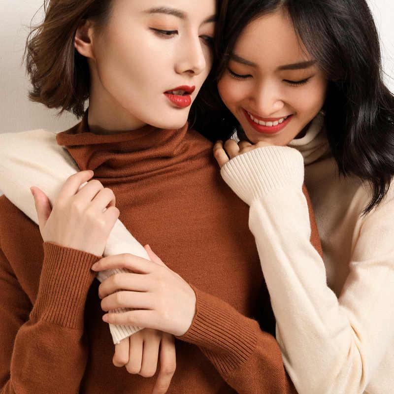 Suéter de cachemira de cuello alto femenino 2019 Otoño e Invierno tejidos nuevos Jersey sexy montón de collar mujeres azul suéter Suelto