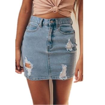 New Hot Sale Fashion Blue Denim High Waisted Women Skirts Summer Sexy Bodycon Pencil Ripped Mini Ladies Skirt