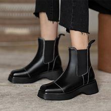 Ботильоны женские из натуральной кожи модные ботинки челси без