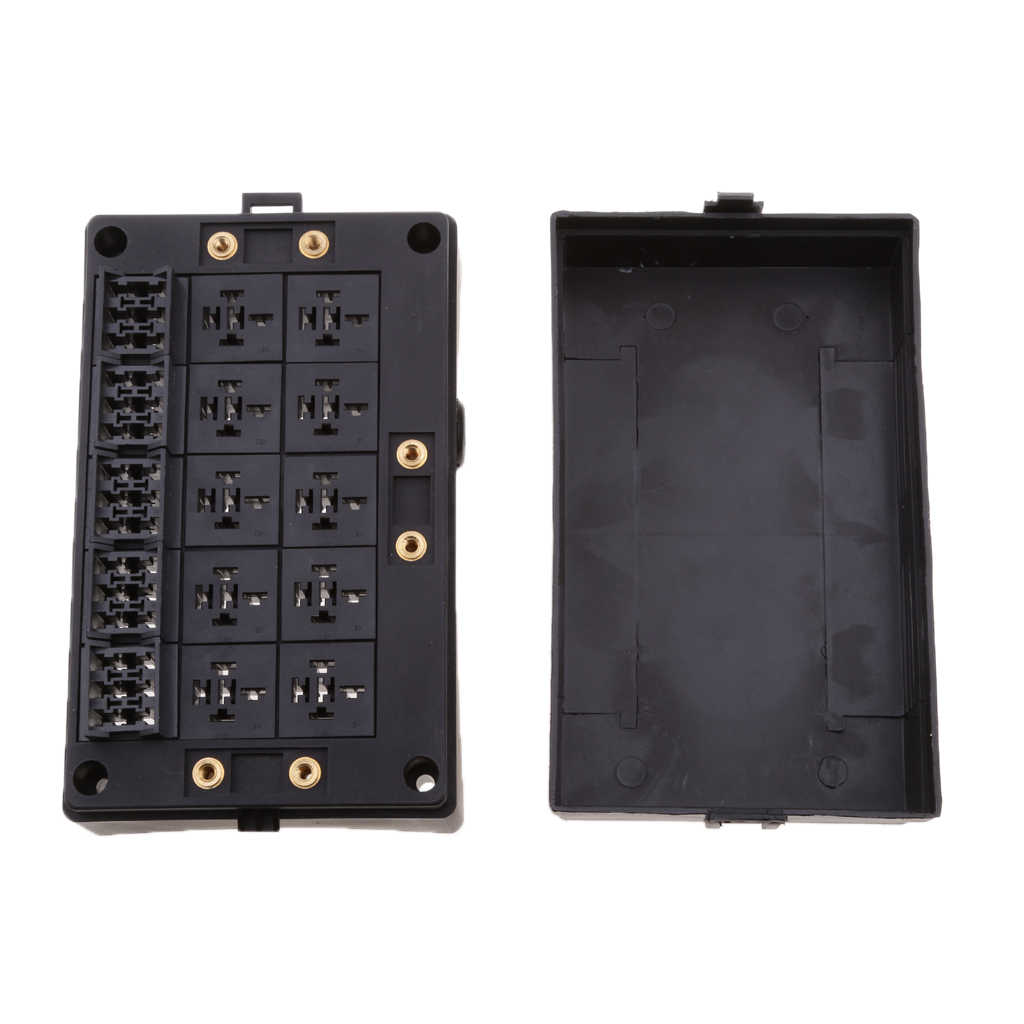 18-Way Circuit Blade Fuse Holder Box for Automotive Marine - with 10-Slot Relays Holder and 18-Slot Blade Fuse Holder