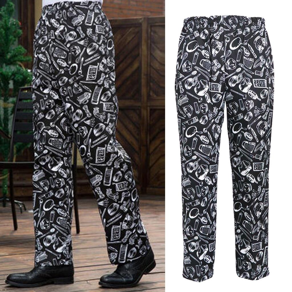 M XL XXL 3XL Funny  Unisex Printed Chef Pants Uniform Baggy Kitchen Work Trousers
