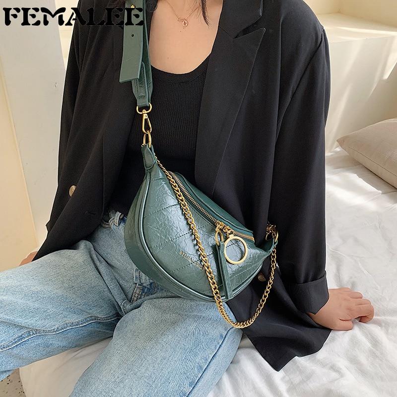 Women 2019 New Fashion Round Zipper Chains Waist Bag PU Leather Solid Retro Purse Shoulder Bag Quality Messenger Bolsa Feminina