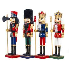 1pc Wooden Nutcracker Christmas Innovation Wearing Red Golden Black Uniform Festive Home Decoration Soldier