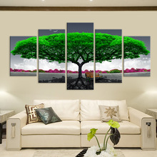 Canvas Prints Paintings Living Room Decor 5 Pieces Green Big Tree Chair Pictures Abstract Landscape Poster Wall Art Artwork canvas hd prints pictures wall art 5 pieces one piece monkey d luffy paintings anime poster living room decor modular framework