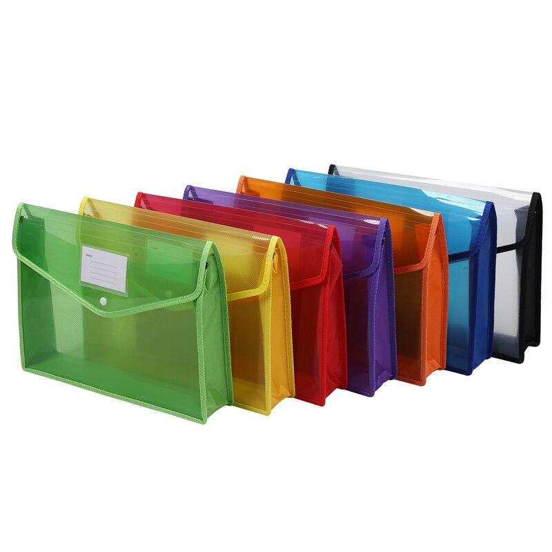 9Pcs/Set A4 Plastic File Wallet Document Folder Premium Poly Pockets Envelope With Business Card Holder
