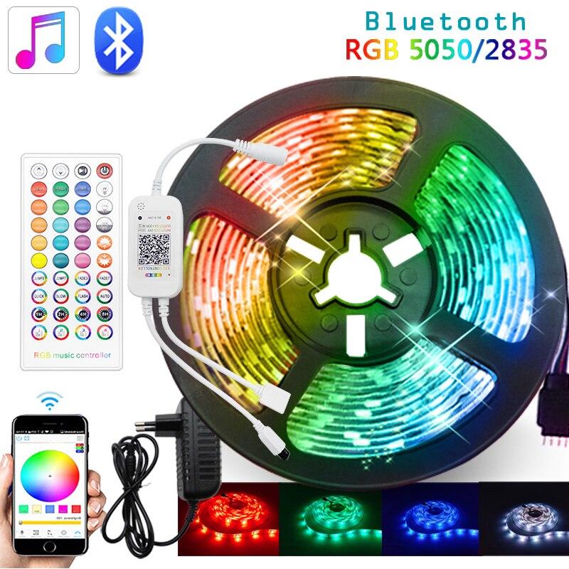 Bluetooth музыкальная 5 м 10 м 15 м светодиодная полоса светильник 5050 SMD 2835 гибкая лента luces светильник са tira fita светодиодная rgb Светодиодное украшен...
