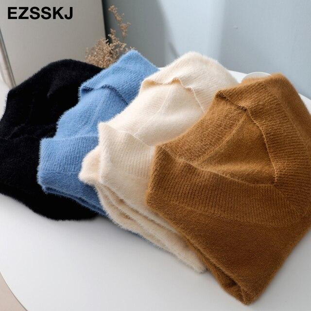 v-neck short lantern sleeve loose mini sweater dress   5
