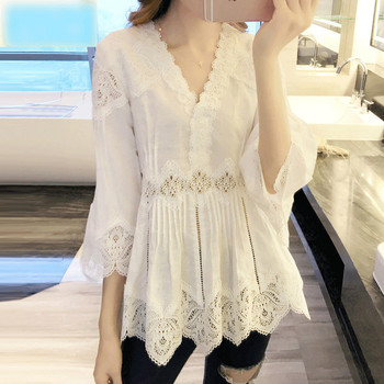 Spring Autumn New Arrival Women Sweet Ruffles V-Neck Fashion Lace Shirt Patchwork Hollow Out Women Blouses Casual Tops Plus size 1