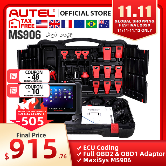 AUTEL MaxiSys MS906 Auto Diagnostic Tool OBD2 Scanner Automotive Key Coding OBD 2 ECU Tester Key Programmer PK MS906BT MS906TS