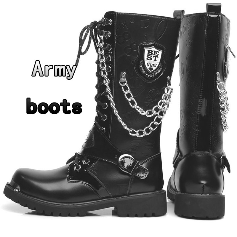 Knight Boots Army Boots Men High Military Combat Men Boots Mid Calf Metal Chain Motorcycle Boots Punk Boots Men's Shoes