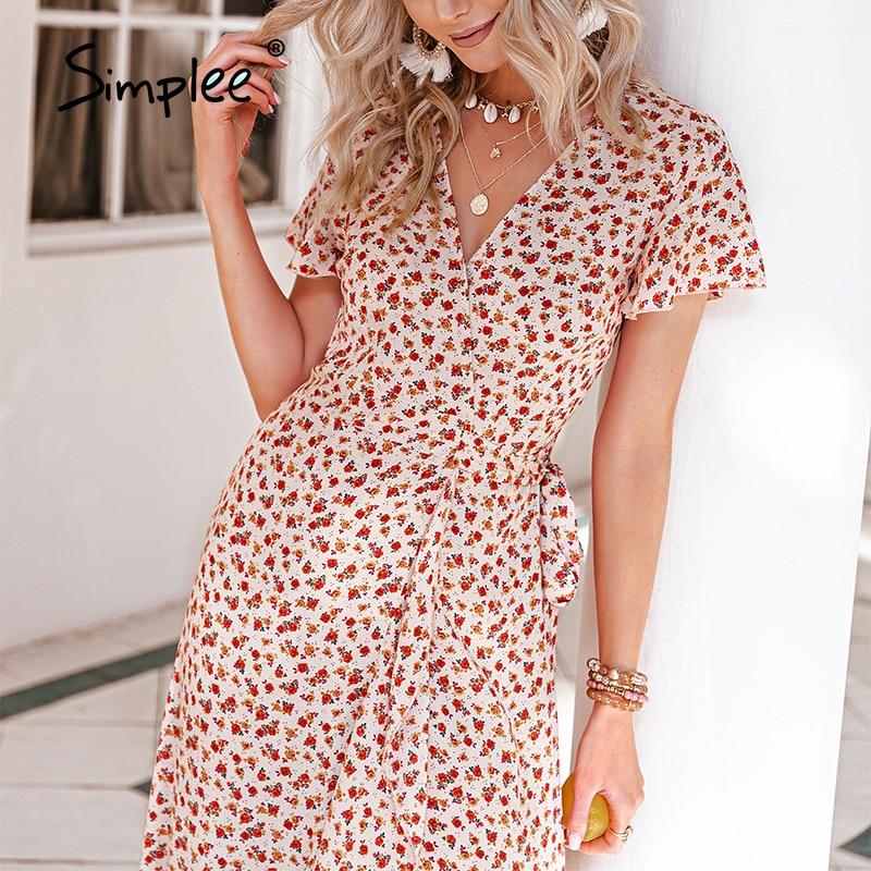 Simplee Cotton Elegant V neck Print Wrap Women Dress Casual Summer High Waist Lace up