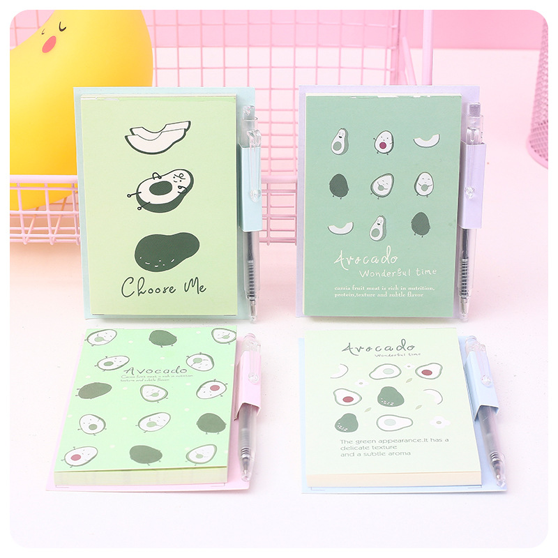 Cute Avocado Patter Mini Portable Notebook Loose Leaf Memo Pad To Do List Stationery Decoration Paper 1book+1pen Ramdonly