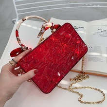 Transparent Niche Design Women Bags 2021 New Personalized Ins Ice Crack Trendy Beautiful Chain Crossbody Portable Box Bag