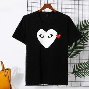Футболка для влюбленных пар, Повседневная дышащая футболка с вышивкой сердца, CDG, Повседневная летняя футболка из чистого хлопка для мужчин ...