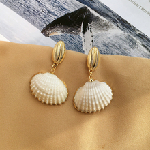 Fashion Natural Handmade Shell Earring for Women Bohemian Beach Pearl Earrings Gold Color Jewelry