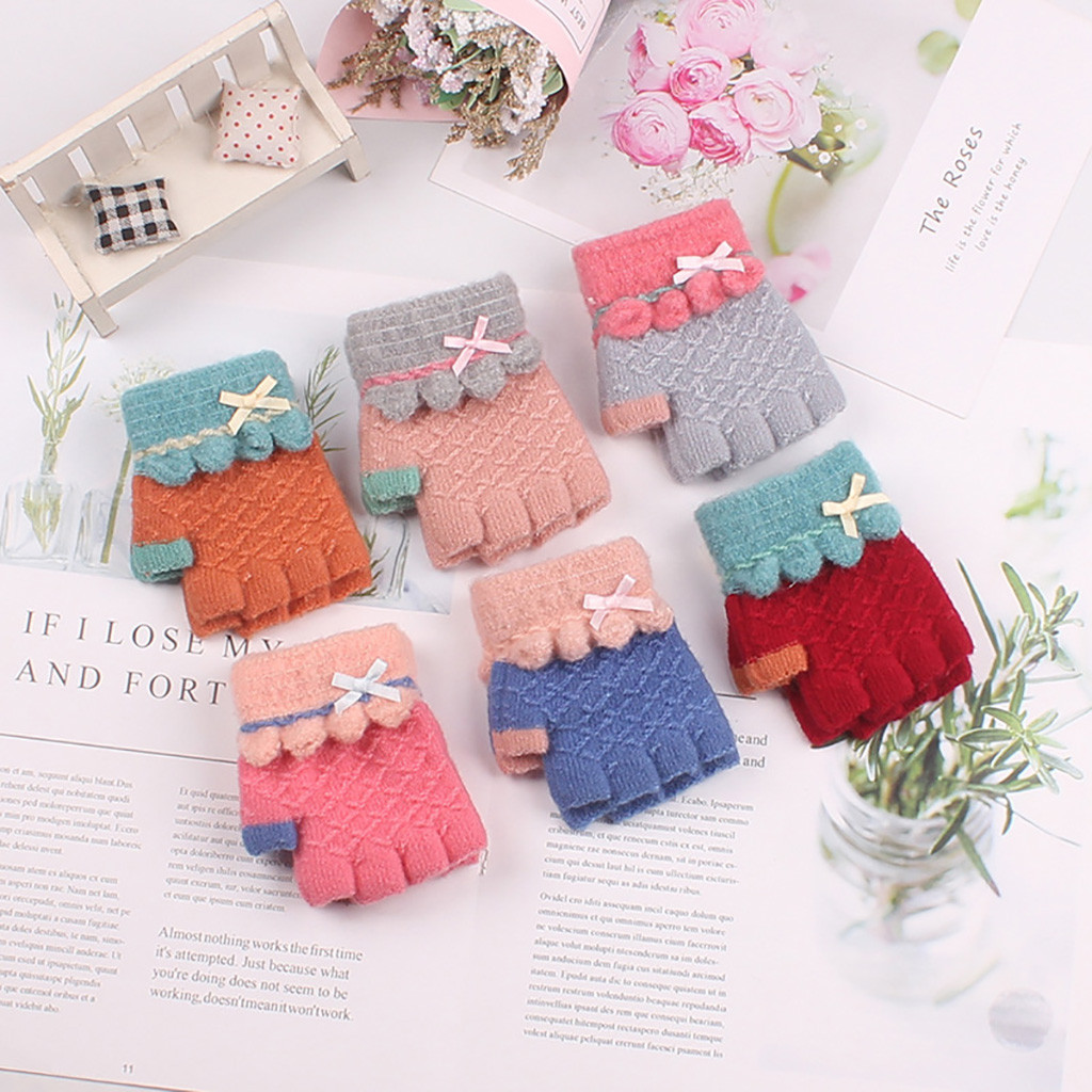 Winter Children's Half Finger Cartoon Warm Knit Gloves Rekawiczki Boys Girls Guantes Handschoenen перчатки перчатки без пальцев