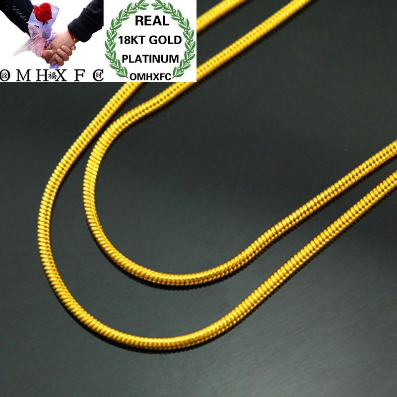 OMHXFC Wholesale European Fashion Woman Female Party Wedding Gift Long 45cm Round Snake Real 18KT Gold Chain Necklace NL20