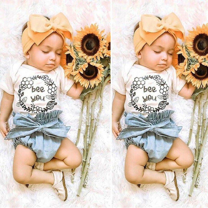 Newborn Baby Girls Romper Tops PP Short Pants Ruffle Outfits Clothes Sunsuit
