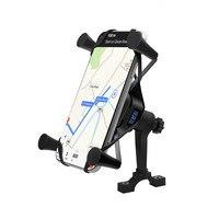 2 em 1 sem fio com fio carga rápida montagem braçadeira suporte do telefone da motocicleta gps navegação suporte de carregamento 360 graus rotação