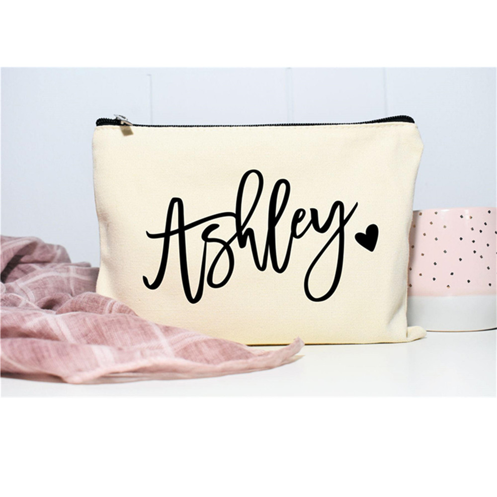 Monogram Cosmetic bag customize canvas team bride bags Bridesmaid Make up Bag wedding favor gift bridal party decor Toiletry Bag