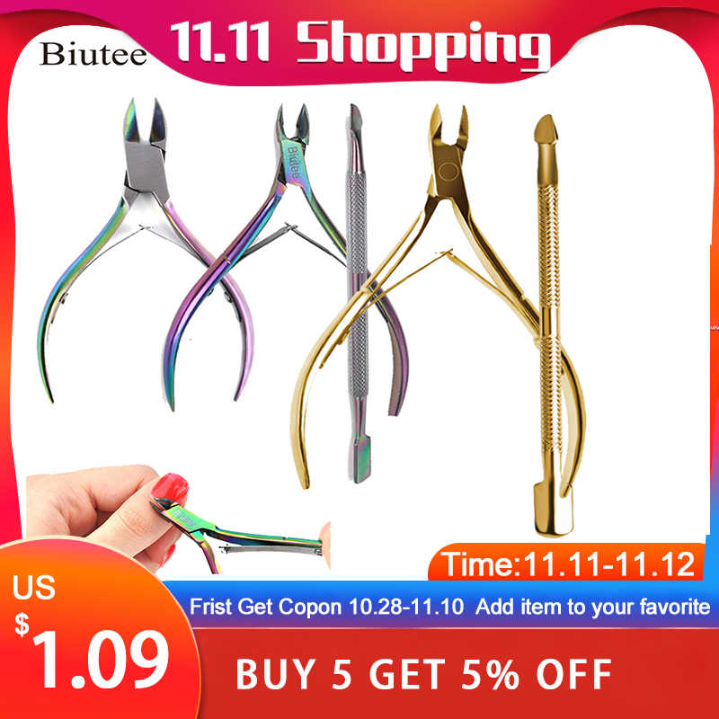 Biutee Rainbow Chameleon Nail Art Cuticle Nail Cuticle Nipper Rvs Regenboog Tweezer Clipper Dode Huid Remover Schaar