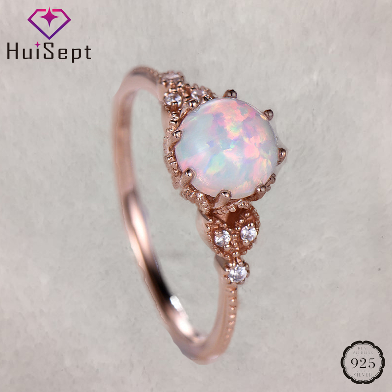 HuiSept Elegant 925 Silver Ring Opal Moonstone Zircon Gemstones Jewelry Rings for Women Wedding Party Gifts Ornaments Wholesales