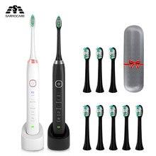 Sarmocare sônica escova de dentes elétrica ultra sônica com escovas faciais e caso viagem 4 cabeças sem fio s100