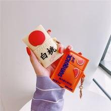 Для apple airpods 2 1 милый 3d оранжевый персиковый напиток