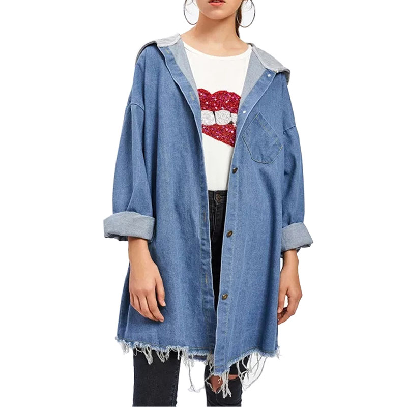 Casual Denim Jacket Female 2019 New Autumn Hooded Long Sleeves Stitching Denim Coat Women Long Jeans Coat Outwear in Trench from Women 39 s Clothing