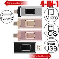 4 en 1 USB Flash Drive 256GB 128GB 32GB 64GB OTG adaptador de disco U para Iphone tipo-C-USB Android 3,0