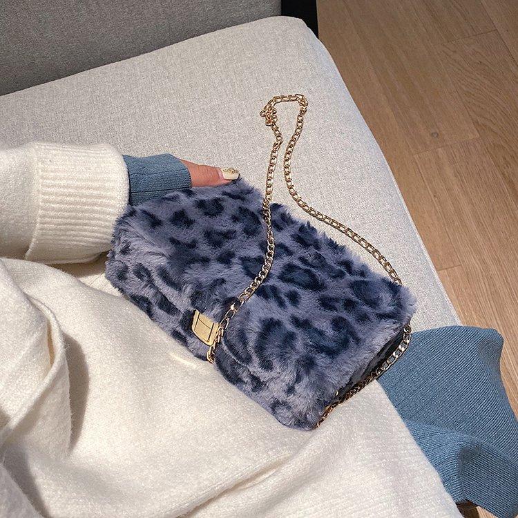 Fashion Leopard Plush Box Women Shoulder Bags Designer Chains Messenger Bag Luxury Faux Fur Crossbody Bag Lady Small Purses 2019