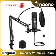 PM401 MAONO USB Mikrofon Set 192KHz/24Bit Microfone Professionelle Nieren Kondensator Podcast Mic mit Stumm Taste & Audio jack