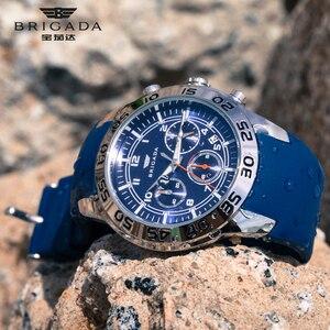 Image 3 - Бригада мужские часы кварцевые оранжевые часы 5bar Водонепроницаемый Топ Роскошные Брендовые Часы для мужчин AAA светящийся силиконовые спортивные наручные часы