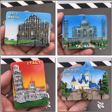 Taj mahal Macao sanba arch Tourism souvenir refrigerator kitchen decoration Italian Leaning Tower resin magnetic