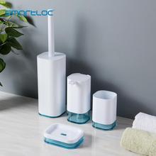 smartloc 4pcs Plastic Bathroom Accessories Bathroom Set Toilet Accessories Washroom Accessories Soap Dispenser Trash Bin Brush