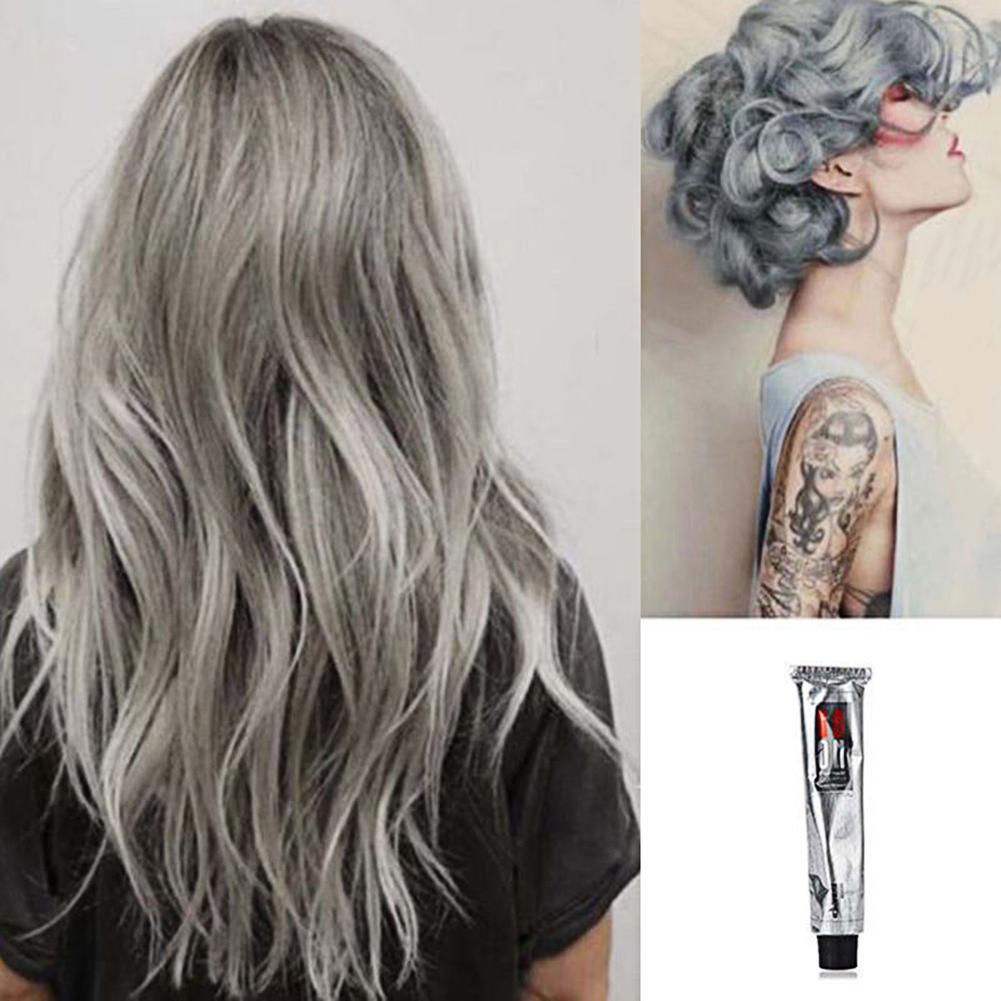 Hot 100ml Fashion Permanent Punk Salon Hair Dye Light Gray Color Long Lasting Cream