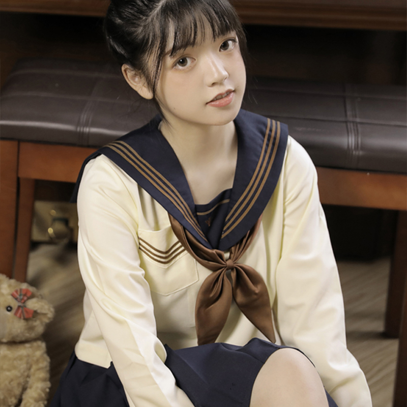 UPHYD Light Yellow Japanese School Uniform JK Uniforms Short/Long Dark Blue Skirt Sailor Suit Female Students Uniforms S-XXL