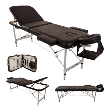 Folding Massage Table Lightweight Couch Bed Professional Beauty Tattoo Salon Spa Reiki 3 Section with Headrest Carrying Bag