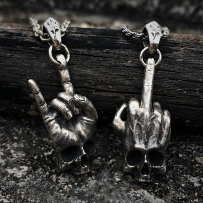 Retro quebrado danificado crânio pingente colar moda masculina biker rock punk jóias antigo corrente namorado presente osdz038