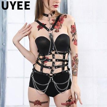 UYEE 2020 Sexy Women Leather Harness Garter Girl Lingerie Suspenders Straps Body Bondage Chest Braces