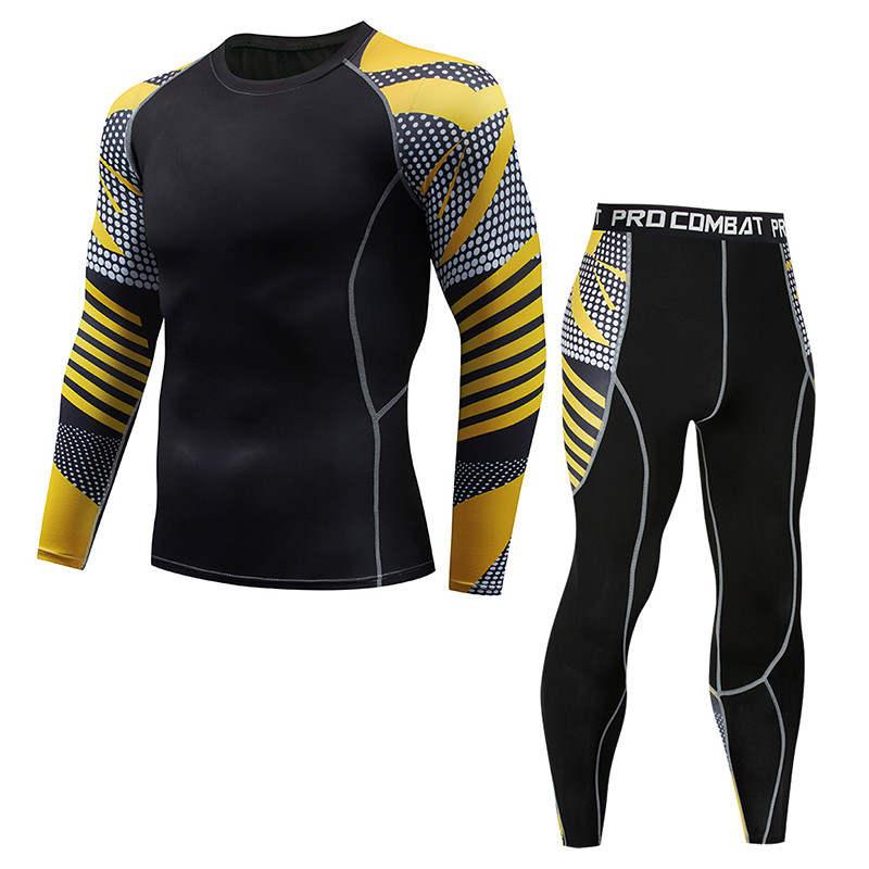 Men's Sports Compression Set Long Sleeve Print T-Shirt + Pants - Skin Tights Men's MMA Training Wear Fitness Wear Yoga Wear