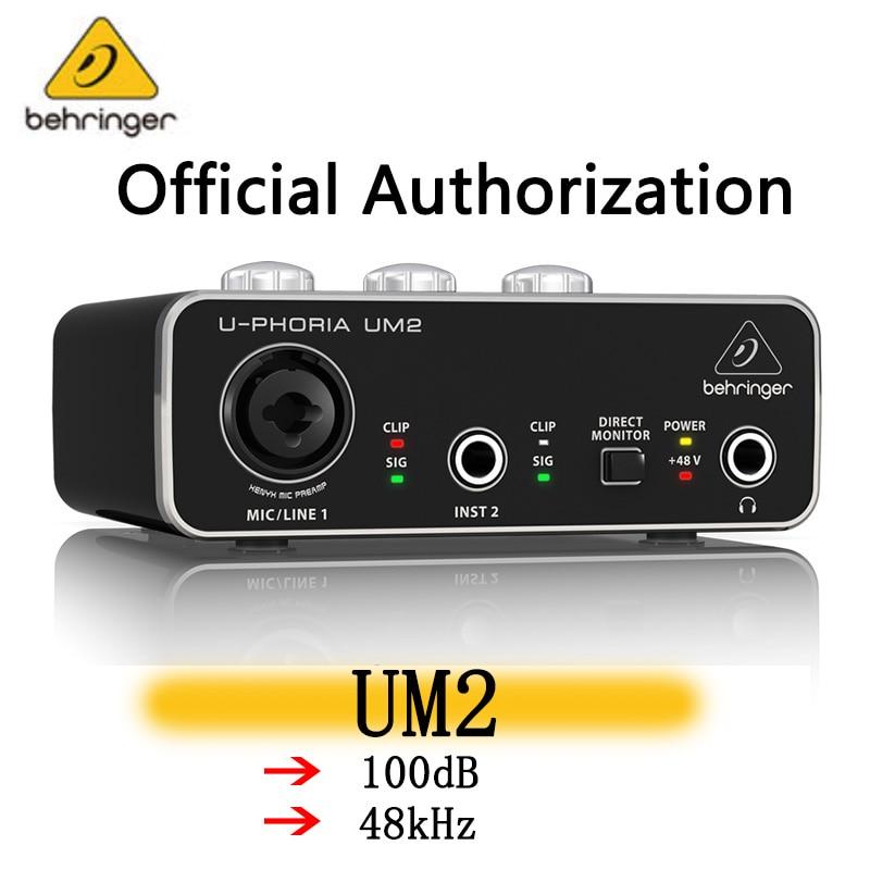 Аудио-интерфейс Behringer UM2, аудио-записывающее оборудование для гитары, внешний USB-интерфейс для прямой трансляции в знаменитостях