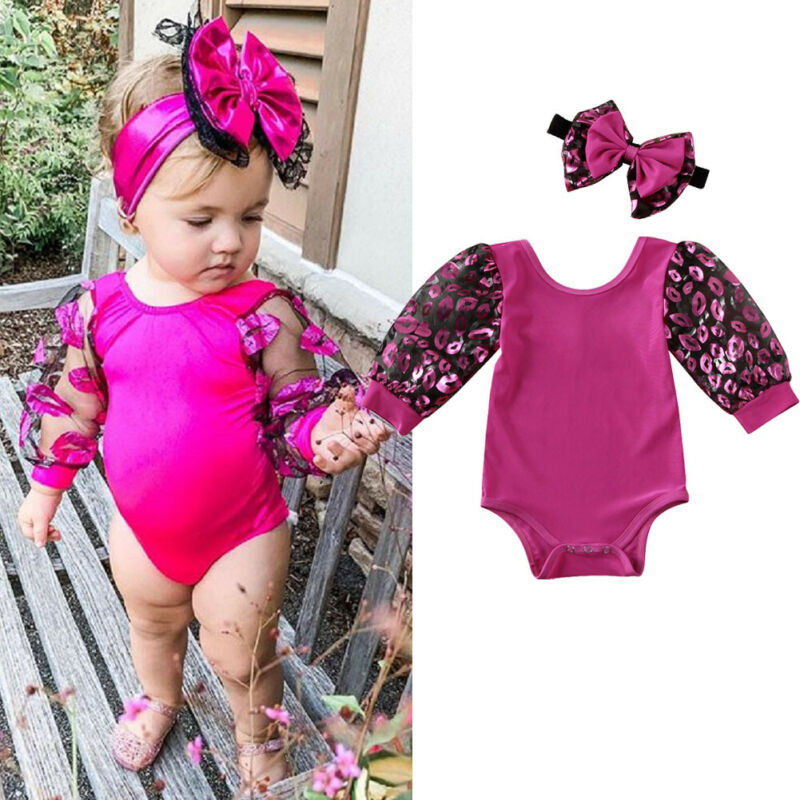0-18m Newborn Baby Girl Bodysuits Lace Long Puff Sleeve Lip Print Jumpsuit For Newborn Purple Sequins Baby Girls Bodysuit Outfit