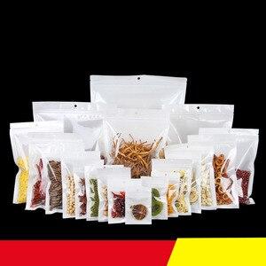 100pcs White Transparent Pearl Film With Logo Design Made Custom Self Sealing Bag Retail Packing Plastic Bags Zipper Wholesale(China)