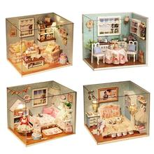 3D DIY Кукольный дом деревянные кукольные домики миниатюрный кукольный домик набор мебели