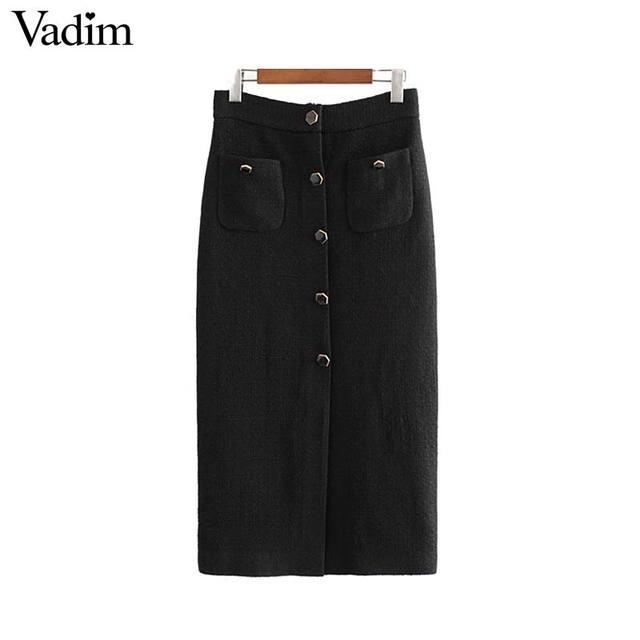 Vadim feminino elegante tweed midi saia frente dividir botões de cintura alta decorar feminino retro saias casuais mujer ba855