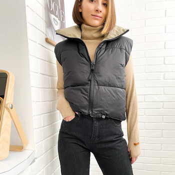 2021 Autumn Winter Women Fashion Double-Sided Jacket Coat Vintage Black Warm Sleeveless Cotton Outwear Female Casual Short Tops 2